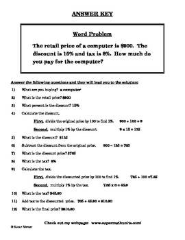 Scaffolding Discount and Tax Percent Word Problems