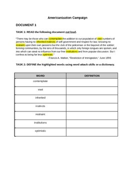 Scaffolding Primary Documents