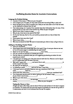 Scaffolding Question Stems for Academic Conversations-CCSS Connections