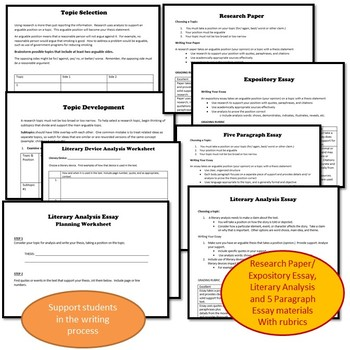 Scaffolding Support Writing Bundle, Differentiate for Writers of All Levels- PDF