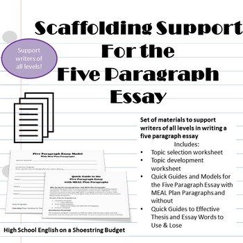 Scaffolding Support for Five Paragraph Essays, Differentiate for Any Writer-PDF