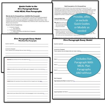 Scaffolding Support for Five Paragraph Essays, Differentiate for Any Writer-WRD