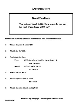 Scaffolding Tip Percent Word Problems