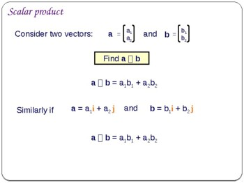 Scalar Product Of Two Vectors By Maths Support Centre Tpt