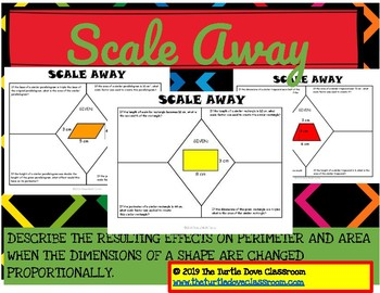 Scale Away effects on perimeter, area when dimensions are
