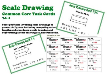 Scale Drawing Task Cards Ratio Proportion SET TWO Common C