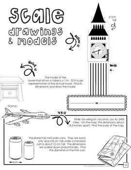 Scale Drawings & Models Doodle Notes