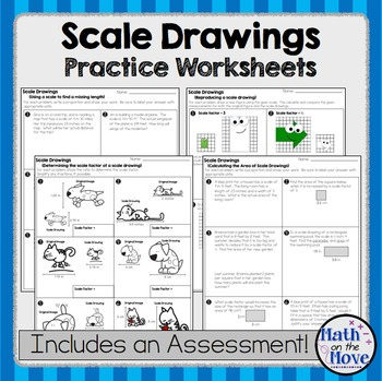 Scale Drawings - Practice Worksheets and Assessment (7.G.1) by Math ...