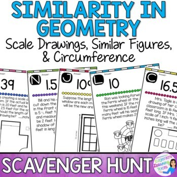 Scale Drawings, Similar Figures, & Circumference Scavenger Hunt
