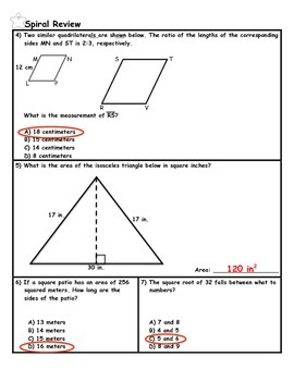 Scale Drawings and Models Word Problems Practice PLUS Spiral Review