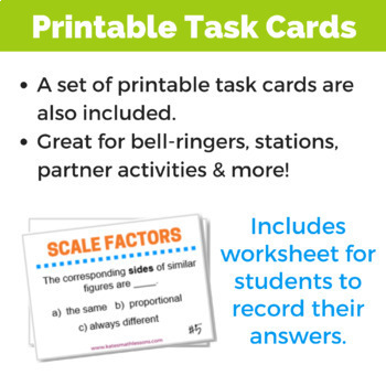 Scale Factors of Similar Figures Task and Boom Cards