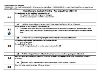 Scale – Math Common Core Standards Gr 2 MACC.2.OA.B.2 Operations Algebraic 2OAB2