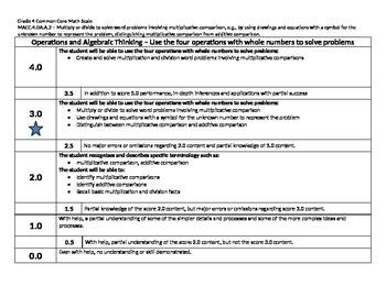 Scale – Math Common Core Standards Gr 4 MACC.4.OA.A.2 Operations Algebraic 4OAA2