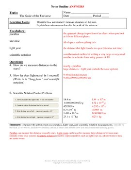 Scale of the Universe Cornell Notes #10
