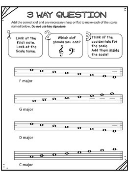 Scales Exercises C, G, D, F major