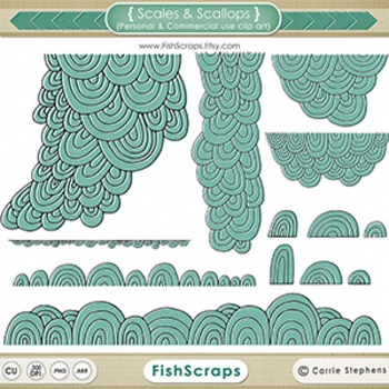 Scales & Scallops Black Line Art, Digital Stamp Silhouettes, Decorative Design