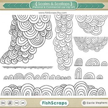 Scales & Scallops Black Line Art, Digital Stamp Silhouette