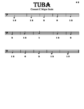 Scales - Tuba - With Fingering Diagrams