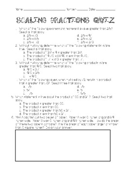 Scaling Fractions Quiz
