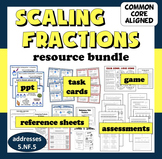 Scaling Fractions bundle - ppts, task cards, game, and printables