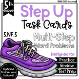 Scaling with Fractions Math Multi-Step Word Problems Task Cards 5th Grade 5.NF.5
