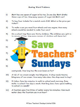 Scaling word problems lesson plans, worksheets and other teaching resources