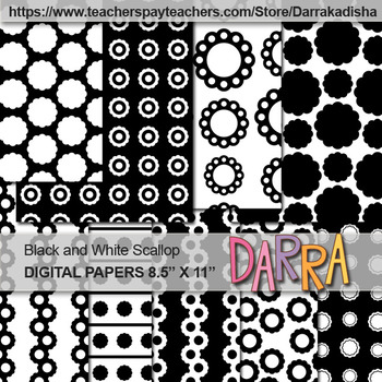 Scallop Background Black and White Digital Papers
