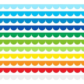 Scallop Border Clipart - 22 digital scallop borders / 10x0.5 inches - A00093