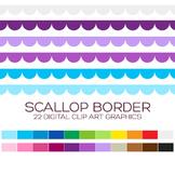 Scallop Border Clipart - 22 digital scallop borders / 10x0