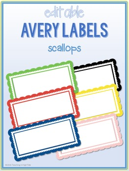 scallop border labels editable avery 5163 4x2 by teaching in