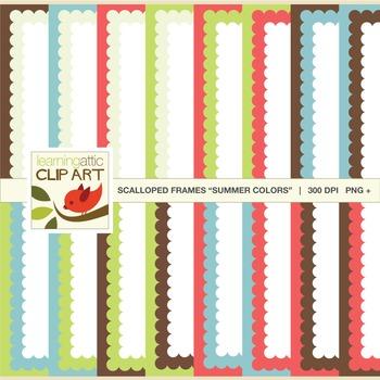 Scallop Bordered Backgrounds: Digital Paper - Clip Art