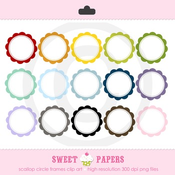 Scallop Circle Frames Rainbow Colors Digital Clip Art Set - by Sweet Papers