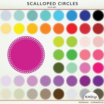 Scalloped Circles and Frames - 46 clip art pieces