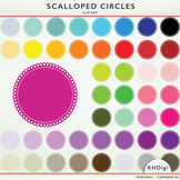 Scalloped Circles and Frames - 46 clip art pieces