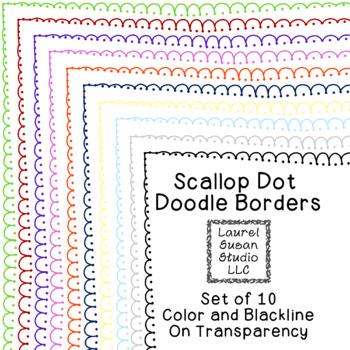 Scallop Dot Borders Clip Art PNG JPG Blackline Included Co