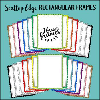 Scallop Edge Rectangular Frames Clipart