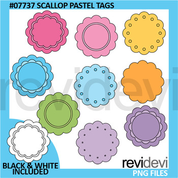 Scallop Pastel Tags/ Label clip art