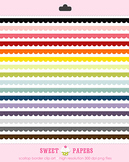 Scallop Rainbow Border Digital Clipart Set - by Sweet Papers