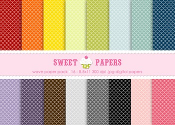 Scallop Rainbow Digital Paper Pack - by Sweet Papers