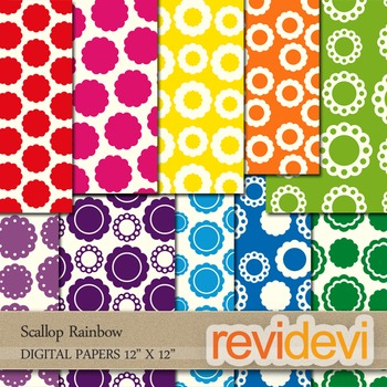 Scallop Rainbow Digital Patterned Papers for Background - Commercial use