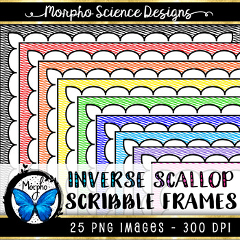Scallop Scribble Frames - Borders for Commercial Use