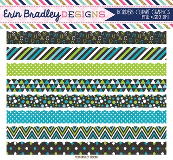 Scalloped Borders Clipart - Blue and Green
