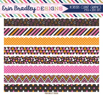 Scalloped Borders Clipart - Pink and Orange