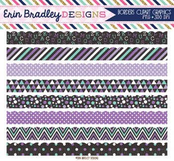 Scalloped Borders Clipart - Purple and Blue