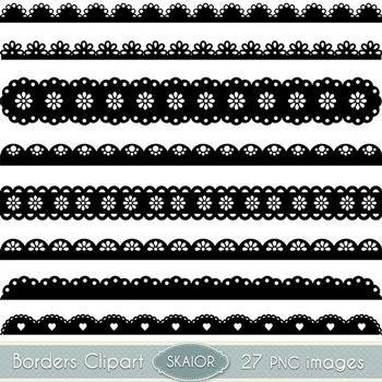 Scalloped Borders Clipart Ribbons Clip Art Text Dividers Lace Scrapbooking