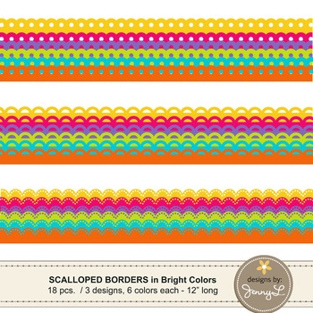 Scalloped Borders in Bright Colors Clipart Graphics for Teachers