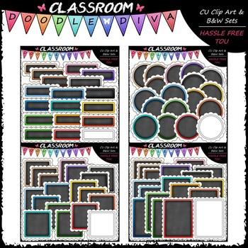 Scalloped Chalkboard Basics Clip Art Bundle (4 Sets)