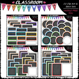 Scalloped Chalkboard Basics Clip Art Bundle (4 Sets)