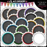 Scalloped Chalkboard Circles Clip Art - Circle Frames Clip Art
