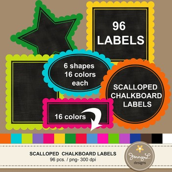 Scalloped Chalkboard Label Cliparts